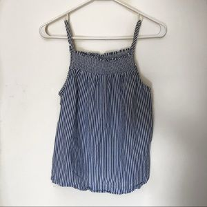 Old navy blue and white striped smocked linen top